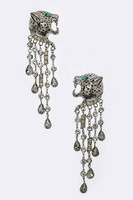 Gunmetal Panther with Black Diamond Chains Earring