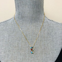 Multi-colored CZ & Stone Initial Necklaces