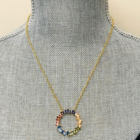Soft Pastel Baguette Open Circle Pendant Necklace