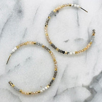 Open Circle Seed Bead Hoop Earring