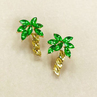 Crystal Palm Tree Post Earring