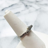 "Sterling Silver ""Always Remember"" Dainty Cubic Zirconia Bow Ring"