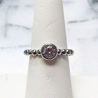 Sterling Silver Bezel Set Round Cubic Zirconia Solitaire Ring