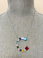 Our Large Colored Stones Initial Necklace
