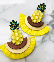 Crystal Pineapple with Natural Raffia Fringe
