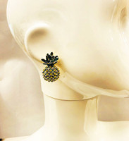 Yellow Crystal & Enamel Pineapple Earring