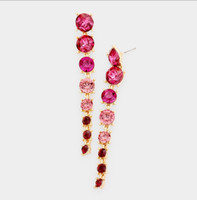 Ombré Large Pink to Small Red Crystal Earrings