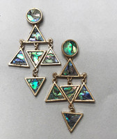Abalone Triangle Dangle Earring
