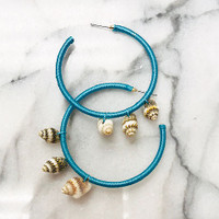 Sea Shell Dangle Hoop Earrings