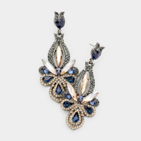 Navy and Black Diamond Crystal Earring