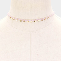 Dainty Seed Bead Necklace with Tiny Gold Disc Charms
