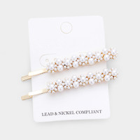Two Pearl Flower Design Bobby Pins