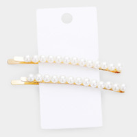 Set of Two Longer Length Small Pearl Bobby