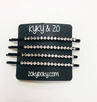 Set of 4 Clear Crystal Black Bobby Pins