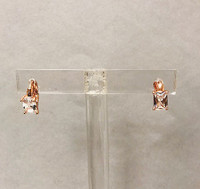 Emerald Cut Cubic Zirconia Ear Huggie Earrings