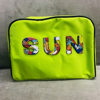 Sondra Roberts Colorful Beaded SUN Nylon Zipper Pouch