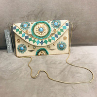 Aztec Embroidered Turquoise Bead Envelope Clutch