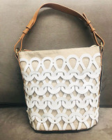 Sondra Roberts Woven Shoulder Bag with Interlocking Loop Detail