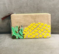 Sondra Roberts Embroidered/Beaded Jute Pineapple Clutch