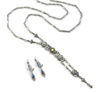 Gatsby Crystal Necklace and Earring Gift Set in Vintage Finish