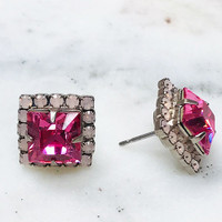Sorrelli Square Cut PinkCrystal Post Earring