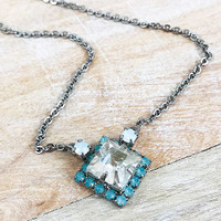 Sorrelli Clear Square Crystal With Mint Alabaster Necklace