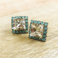 Sorrelli Square Cut Mint Alabaster Crystal Post Earring