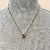 Sorrelli Light Colorado Topaz Square Crystal Pendant Necklace