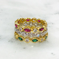 Dainty Cubic Zirconia Marquise & Round Band Ring