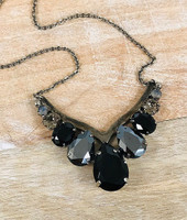 Sorrelli Black Onyx and Hematite Crystal Statement Necklace
