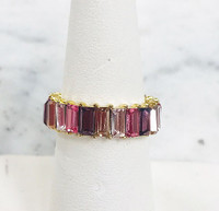 Stackable Colored Cubic Zirconia Baguette Ring