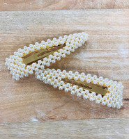 Two Larger Triangular Pearl Peek-A-Boo Hair Clips