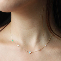 White Fire Opal Dainty Necklace
