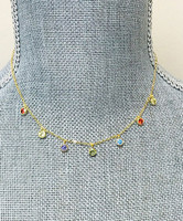Multi-Colored Bezel Set Cubic Zirconia Necklace