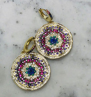 Multi Colored Cubic Zirconia Ear Hugger Medallion Earring