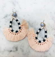 Light Pink Tassel/Striped Hoop Earring