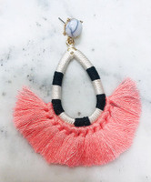 Hot Pink Tassel/Striped Hoop Earring