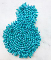 Turquoise Beaded fringe Double Medallion Earrings