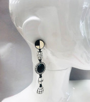 Long Black & White Retro Bead Dangle Earrings