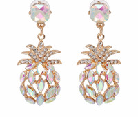 Iridescent AB Crystal Pineapple Statement Earrings