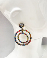 Multicolored Crystal Concentric Hoops