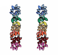 Long Colorful Crystal Cabo Earrings