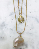 Boho Double Chain with Sea Shell Pendant