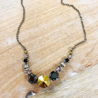 Sorrelli Gold and Hematite Metal Crystal Necklace