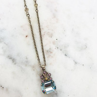 Sorrelli Crowned Aquamarine Emerald Pendant Necklace