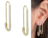 Cubic Zirconia Safety Pin Earrings