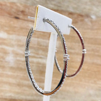 .925 Sterling Silver Cubic Zirconia Elongated Hoops
