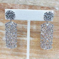 Cubic Zirconia Baguettes in Rectangle Dangle Earring