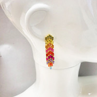 Gold Vermeil Colored CZ Baguette Waterfall Earrings