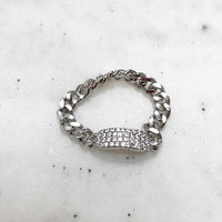 mooshy Linked Chain with Cubic Zirconia Ring